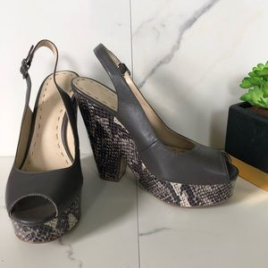 Nine West Grey Snakeskin Slingback Pumps